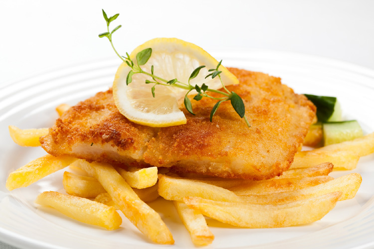 Fried fish fillet with chips